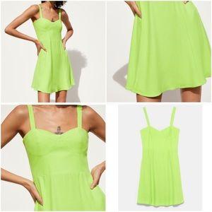ZARA Bustier Mini Neon Green Dress sz Large